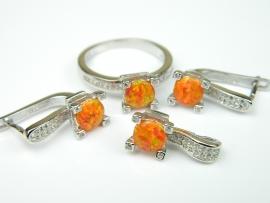 Set bijuterii argint rodiat, aspect aur alb, 4 piese, opal portocaliu si zirconii