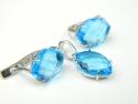 Set bijuterii argint rodiat, aspect aur alb, cercei si pandantiv, topaz bleu