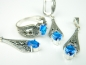 Set bijuterii argint, model egiptean, inel, cercei, pandantiv, topaz albastru si marcasite