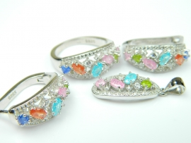 Set bijuterii argint rodiat, aspect aur alb, 4 piese, pietre multicolore