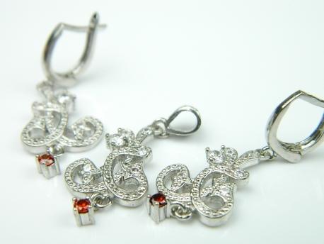 Set bijuterii argint rodiat, cercei si pandantiv, zirconii