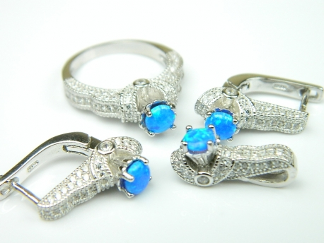 Set bijuterii argint rodiat, aspect aur alb, 4 piese, model egipt, opal imperial si zirconia