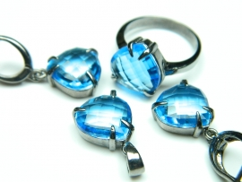 Set bijuterii argint, cercei, inel, pandantiv, aquamarine