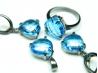 Set argint, cercei, inel, pandantiv, piatra aquamarine