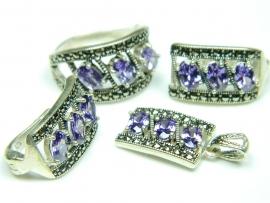 Set bijuterii argint, cercei, inel, pandantiv, ametist si marcasite