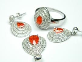 Set bijuterii argint rodiat, cercei, pandantiv, inel, piatra portocalie si zirconii