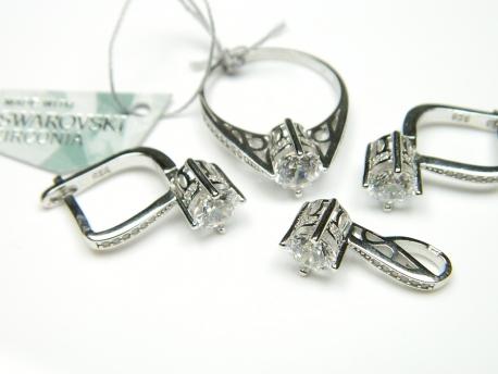 Set argint aspect aur alb, cercei, pandantiv si inel, swarowski zirconia