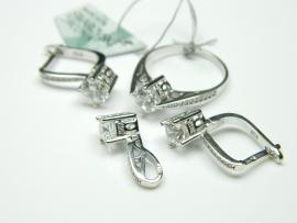 Set bijuterii argint rodiat, aspect aur alb, cercei, pandantiv si inel, swarowski zirconia