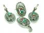 Set bijuterii argint unicat, 4 piese, pietre multicolore si marcasite