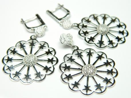 Set argint rodiat, cercei si pandantiv, zirconii