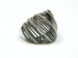 Inel argint rodiat, zirconii