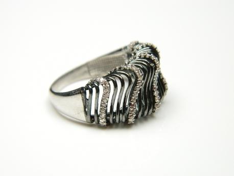 Inel argint rodiat, pietre zirconii