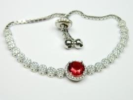 Bratara argint rodiat, aspect aur alb, rubin si zirconii