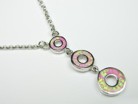 Colier argint rodiat, aspect aur alb, opal roz