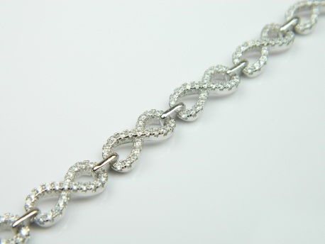 Bratara argint rodiat, aspect aur alb, zirconii
