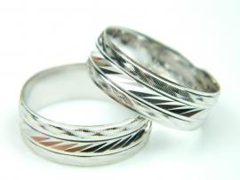 Verigheta 57 mm, argint rodiat, aspect aur alb