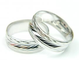 Verigheta 56,5 mm, argint rodiat, aspect aur alb