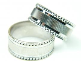 Verigheta 59 mm, argint rodiat, aspect aur alb
