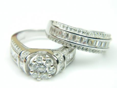 Set 2 inele argint rodiat, aspect aur alb, zirconii