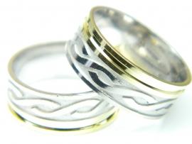 Verigheta 58 mm, argint rodiat si aurit, aspect aur alb si galben