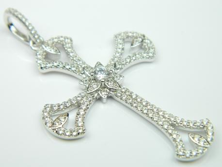 Pandantiv argint rodiat, aspect aur alb cu zirconii