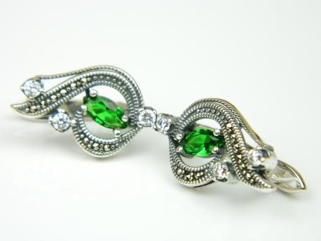 Cercei argint, smarald zirconia si marcasite