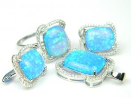 Set bijuterii argint rodiat, aspect aur alb, 4 piese, opal imperial si zirconia