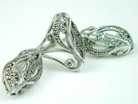 Set bijuterii argint, unicat, inel si cercei, marcasite