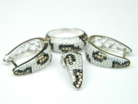Set bijuterii argint rodiat, aspect aur alb, animal print