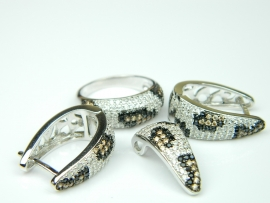 Set bijuterii argint rodiat, aspect aur alb, 4 piese, animal print