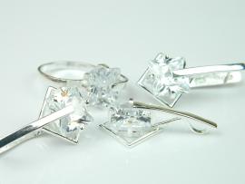 Set bijuterii argint, inel, cercei si pandant, topaz