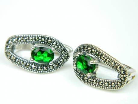 Cercei argint, smarald si marcasite