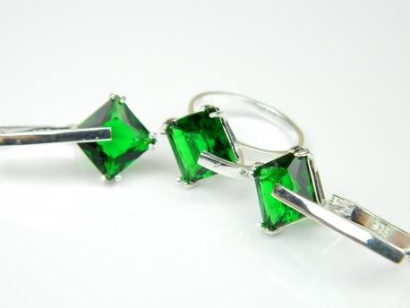 Set bijuterii argint, inel, cercei, smarald