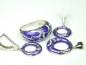 Set argint rodiat, aspect aur alb, inel, cercei si pandantiv, email si zirconia