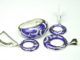 Set argint rodiat, aspect aur alb, inel, cercei si pandantiv, email mov si zirconia
