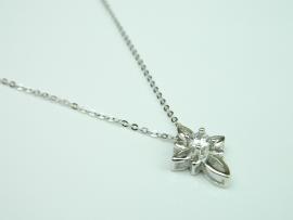 Colier argint rodiat, aspect aur alb, zirconia