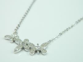 Colier argint rodiat, aspect aur alb, zirconii