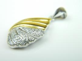 Pandantiv argint aurit si rodiat, zirconii