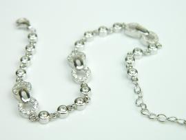 Bratara argint rodiat, aspect aur alb, zirconia