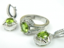 Set bijuterii argint rodiat, aspect aur alb, inel si cercei, zultanite si zirconii