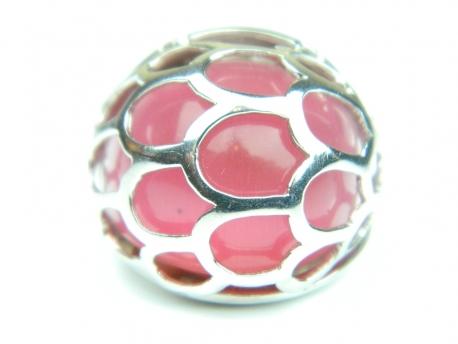 Inel argint rodiat, aspect aur alb, piatra roz