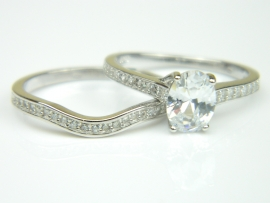 Set 2 inele argint rodiat, aspect aur alb, topaz si zirconii