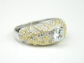 Inel argint rodiat si aurit, topaz alb si zirconia