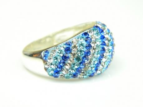 Inel argint, zirconii colorate
