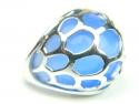 Inel argint rodiat, aspect aur alb, piatra albastra