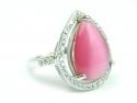 Inel argint rodiat, aspect aur alb, zirconii si piatra roz