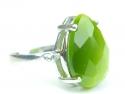 Inel argint rodiat, aspect aur alb, piatra verde