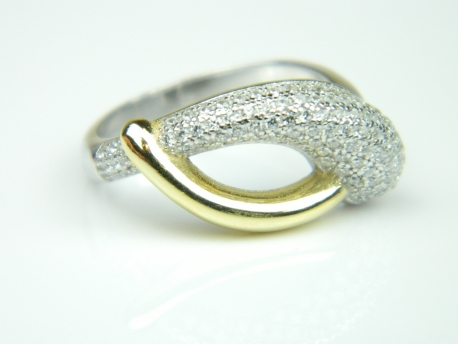 Inel argint rodiat si aurit, zirconii