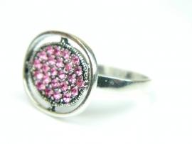 Inel argint, aspect vintage, zirconii roz
