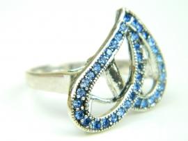 Inel argint, aspect vintage, zirconii